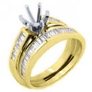 1 CARAT WOMENS DIAMOND ENGAGEMENT RING SEMI-MOUNT SET BAGUETTE CUT YELLOW GOLD