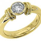 WOMENS SOLITAIRE BRILLIANT ROUND DIAMOND ENGAGEMENT RING BEZEL SET YELLOW GOLD