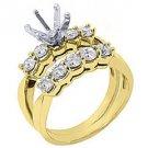 1.18 CARAT WOMENS DIAMOND ENGAGEMENT RING SEMI-MOUNT SET ROUND CUT YELLOW GOLD