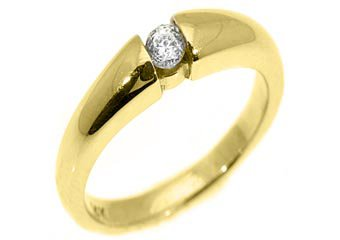 WOMENS SOLITAIRE BRILLIANT ROUND DIAMOND PROMISE RING TENSION SET YELLOW GOLD