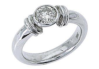 WOMENS SOLITAIRE BRILLIANT ROUND DIAMOND ENGAGEMENT RING BEZEL SET WHITE GOLD