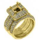 WOMENS DIAMOND ENGAGEMENT HALO RING SEMI-MOUNT BRIDAL SET SQUARE CUT YELLOW GOLD