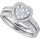 WOMENS DIAMOND ENGAGEMENT HALO RING WEDDING BAND BRIDAL SET .77CT HEART SHAPE