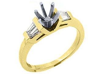 1/3 CARAT WOMENS DIAMOND ENGAGEMENT RING SEMI-MOUNT BAGUETTE CUT YELLOW GOLD