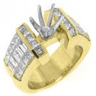 3 CARAT WOMENS DIAMOND ENGAGEMENT RING SEMI-MOUNT PRINCESS CUT YELLOW GOLD