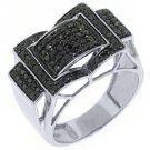 MENS BLACK DIAMOND RING 10KT WHITE GOLD BRILLIANT ROUND CUT 1 CARAT