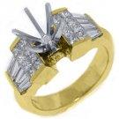 1.71 CARAT WOMENS DIAMOND ENGAGEMENT RING SEMI-MOUNT PRINCESS CUT YELLOW GOLD