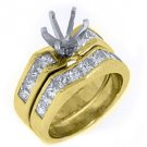 1.69CT WOMENS DIAMOND ENGAGEMENT RING SEMI-MOUNT SET PRINCESS CUT YELLOW GOLD