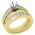 1.6 CARAT WOMENS DIAMOND ENGAGEMENT RING SEMI-MOUNT SET PRINCESS CUT YELLOW GOLD