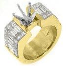 3.56 CARAT WOMENS DIAMOND ENGAGEMENT RING SEMI-MOUNT PRINCESS CUT YELLOW GOLD