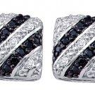 .27 CARAT SQUARE BRILLIANT ROUND CUT BLACK DIAMOND STUD EARRINGS WHITE GOLD