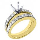 1.9 CARAT WOMENS DIAMOND ENGAGEMENT RING SEMI-MOUNT SET PRINCESS CUT YELLOW GOLD