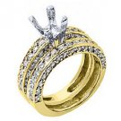 1.81 CARAT WOMENS DIAMOND ENGAGEMENT RING SEMI-MOUNT SET ROUND CUT YELLOW GOLD
