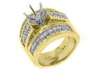 3.38 CARAT WOMENS DIAMOND ENGAGEMENT RING SEMI-MOUNT PRINCESS CUT YELLOW GOLD