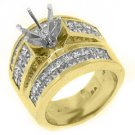 3.38 CARAT WOMENS DIAMOND ENGAGEMENT RING SEMI-MOUNT PRINCESS CUT YELLOW GOLD