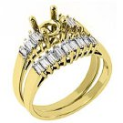 .70 CARAT WOMENS DIAMOND ENGAGEMENT RING SEMI-MOUNT SET BAGUETTE CUT YELLOW GOLD