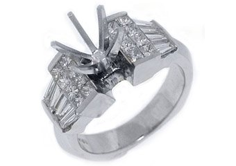 1.71 CARAT WOMENS DIAMOND ENGAGEMENT RING SEMI-MOUNT PRINCESS CUT WHITE GOLD