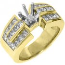 1.52 CARAT WOMENS DIAMOND ENGAGEMENT RING SEMI-MOUNT PRINCESS CUT YELLOW GOLD