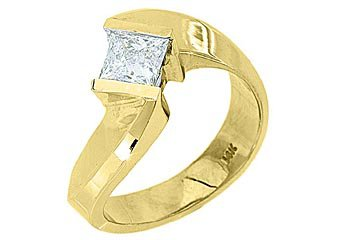 WOMENS .76CT PRINCESS CUT DIAMOND ENGAGEMENT RING TENSION SET YELLOW GOLD SI2/G