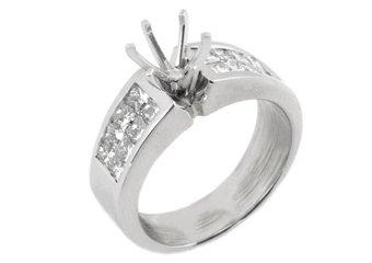 1.30 CARAT WOMENS DIAMOND ENGAGEMENT RING SEMI-MOUNT PRINCESS CUT WHITE GOLD