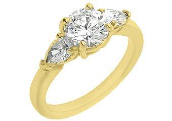 1.65 CARAT WOMENS 3-STONE PAST PRESENT FUTURE DIAMOND RING ROUND CUT YELLOW GOLD