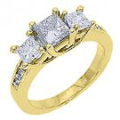 1.63 CARAT WOMENS 3-STONE FANCY YELLOW DIAMOND RING PRINCESS YELLOW GOLD