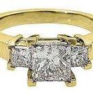 2 CARAT WOMENS 3-STONE PAST PRESENT FUTURE DIAMOND RING SQUARE CUT YELLOW GOLD