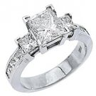 3 CARAT WOMENS 3-STONE PAST PRESENT FUTURE DIAMOND RING PRINCESS CUT WHITE GOLD