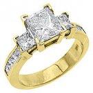 3 CARAT WOMENS 3-STONE PAST PRESENT FUTURE DIAMOND RING PRINCESS CUT YELLOW GOLD
