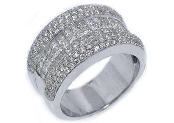 2.5 CARAT WOMENS PRINCESS CUT INVISIBLE DIAMOND RING WEDDING BAND WHITE GOLD