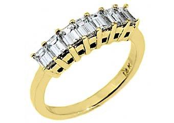 1 CARAT WOMENS BAGUETTE CUT DIAMOND RING WEDDING BAND YELLOW GOLD