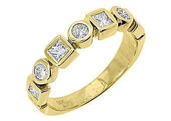 .68CT WOMENS BRILLIANT ROUND PRINCESS CUT DIAMOND RING WEDDING BAND YELLOW GOLD