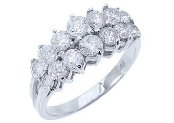 1.7 CARAT WOMENS BRILLIANT ROUND CUT DIAMOND RING WEDDING BAND 14KT WHITE GOLD