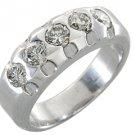 1.15 CARAT WOMENS BRILLIANT ROUND 5-STONE DIAMOND RING WEDDING BAND WHITE GOLD