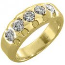 1.15 CARAT WOMENS BRILLIANT ROUND 5-STONE DIAMOND RING WEDDING BAND YELLOW GOLD
