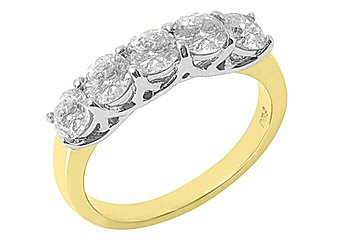 WOMENS 1.5CT BRILLIANT ROUND 5 STONE DIAMOND RING WEDDING BAND TWO TONE GOLD