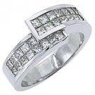 1.2CT WOMENS PRINCESS SQUARE CUT INVISIBLE DIAMOND RING WEDDING BAND WHITE GOLD