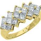 WOMENS 1.20 CARAT PRINCESS SQUARE CUT DIAMOND RING WEDDING BAND 14KT YELLOW GOLD
