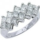 WOMENS 1.20 CARAT PRINCESS SQUARE CUT DIAMOND RING WEDDING BAND 14KT WHITE GOLD