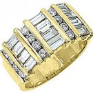 2.78CT WOMENS BRILLIANT ROUND BAGUETTE CUT DIAMOND RING WEDDING BAND YELLOW GOLD