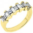 1.25CT WOMENS PRINCESS SQUARE BAGUETTE CUT DIAMOND RING WEDDING BAND YELLOW GOLD