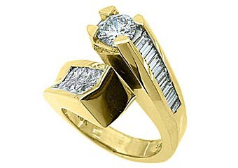 3 CARAT WOMENS DIAMOND ENGAGEMENT RING ROUND PRINCESS BAGUETTE CUT YELLOW GOLD