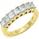 1.25 CARAT WOMENS PRINCESS SQUARE CUT DIAMOND RING WEDDING BAND YELLOW GOLD