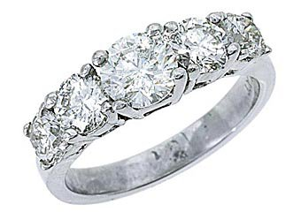 2.25 CARAT WOMENS BRILLIANT ROUND 5-STONE DIAMOND RING WEDDING BAND WHITE GOLD