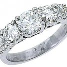 2.25 CARAT WOMENS BRILLIANT ROUND 5-STONE DIAMOND RING WEDDING BAND WHITE GOLD