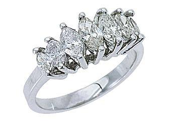 1.28 CARAT WOMENS MARQUISE CUT 7-STONE DIAMOND RING WEDDING BAND WHITE GOLD