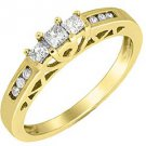 1/4 CARAT WOMENS 3-STONE PAST PRESENT FUTURE DIAMOND PROMISE RING YELLOW GOLD