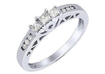 1/4 CARAT WOMENS 3-STONE PAST PRESENT FUTURE DIAMOND PROMISE RING WHITE GOLD