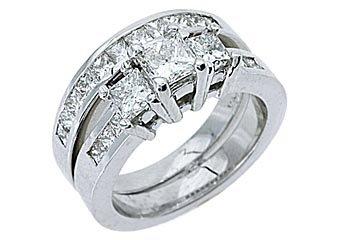 WOMENS DIAMOND ENGAGEMENT RING WEDDING BAND BRIDAL SET PRINCESS CUT WHITE GOLD