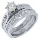 1.52CT WOMENS DIAMOND ENGAGEMENT RING WEDDING BAND BRIDAL SET ROUND WHITE GOLD